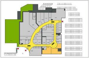 De två våningsplanen i nya Ikano-huset blir i stort sett identiska med ett gångstråk i form av en triangel. Det här visar nedre planet, entréplanet, och den gröna rektangeln till vänster är Ö&B.