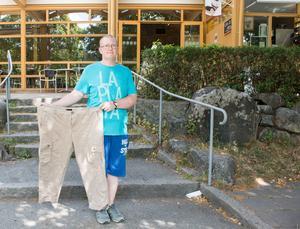 Från storlek 46 till 34. Niklas Jorfeldt har minskat flera storlekar under året som gått.