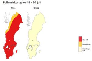 Stor risk för höga halter gräspollen. Prognos för hela Sverige, publicerat på pollenrapporten.se som drivs av Naturhistoriska riksmuseet.