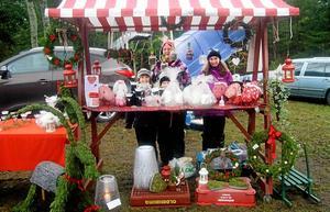 Pysselfamilj. Anne Ikola och barnbarnen Minna Ikola och Alva och Julia Åkerstrand har gemensamt tillverkat kransar, ljusbrickor och julbockar som de säljer på julmarknaden i Ålsta.