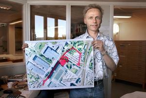 Ny Lyviksväg. Planarkitekt Torkel Berg har tagit fram ett förslag på hur den nya provhallen och Lyviksvägen ska läggas om.