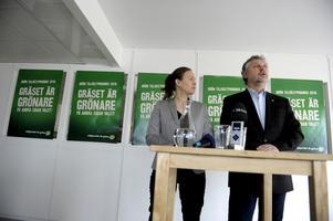 Eget spår. Språkrören Peter Eriksson och Maria Wetterstrand presenterade i går de grönas valmanifest.foto: scanpix