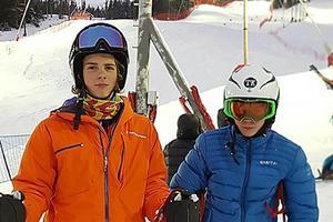 Kevin Lundqvist och Anton Rösnäs, båda i topp i sina respektive klasser efter helgens tävlingar i storslalom.
