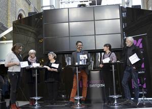 Kulturdebatt i Kulturmagasinet. Monica Fällström (S), Mia Tejle, Mikael Flodström, Alveola Ämting och Björn Gimstedt.