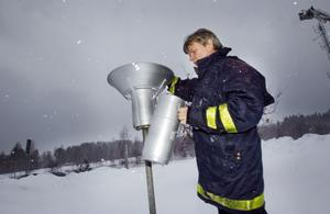 Rolf Gustafsson konstaterar att det kommit mycket snö i mätstationen.