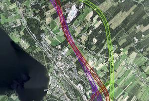E14 utanför Brunflo. Trafikverkets tre alternativ till vägkorridorer i färgerna rött, lila och grönt.