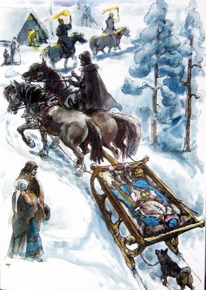 Ett begravningsfölje som det sannolikt såg ut, illustrerat av Alf Lannerbäck.