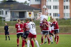 Tove Norin i Team Hudiks mål plockar ner en boll.