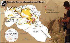 Islamska Statens utbredning och offensiv. Från maj 2015.