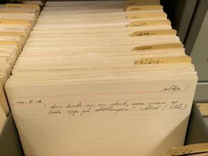 Samlingarna på Dialekt- och folkminnesarkivet innehåller drygt sju miljoner ordlappar, där de äldsta uppgifterna är från 1600-talet.
