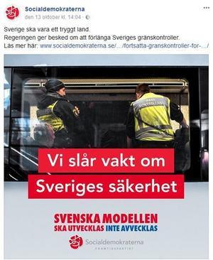 Socialdemokraterna på Facebook. Oskyldigt eller osmakligt?Bildbeskrivning: skärmdump