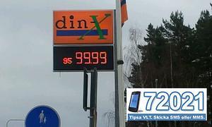Prisskylten påstod att priset för en liter 95-oktaning bensin var 99,99 kronor.
