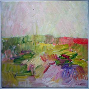 Siv Åsenlund från Orsa delar med oljemåleri i utställningen. Här verket Sommar.