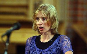 Charlotta Böjers framträdande Det kom ett brev, efter Pär Lagerkvist. Hon har en spröd stämma med fin känsla.