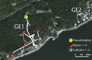 På bilden är de underjordiska gångarna utmarkerade. Gråberget bestod av två anläggningar. Den stora Ge1 närmast Bönan och Ge2 några hundra meter längre norrut. Ett tredje batteri fanns också i Furuvik som hette Ge3.