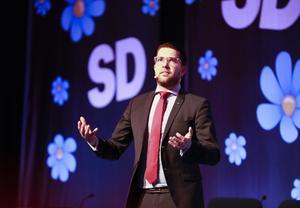 SD-ledaren Jimmie Åkesson  vid  en partikonferens i Västerås.