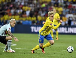 Emil Forsberg under gruppspelsmatchen mellan Sverige och Belgien.