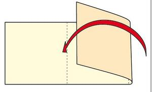 Vik eller biga* kanterna på två ställen, så att kortet består av tre delar. Mittdelen är den del som du enklast skriver din hälsning på. *Biga betyder att man viker med hjälp av ett verktyg som ger rakare och finare veck i pappret