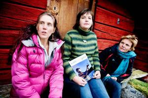 Maria Larsson, i mitten som driver Doltorpet i Häggenås fick företagartips av rådgivaren Maria Kjellström från ekoturismföreningen och från Ing-Marie Jirhed, LRF. Foto: Lars-Eje Lyrefelt