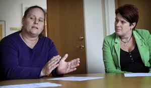 Birgitt Bertram berättade om sina planer för Säfsen. Med på presskonferensen fanns bland andra kommunalrådet Maria Pettersson. Foto:Peter Ohlsson
