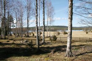 Här placerades några av fäbodstugorna med hjälp av slagrutor och med utsikt ner mot sjön Skalen.