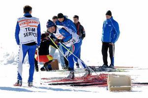 Glidtest. Många nationer finns på plats i Falun. På torsdagsförmiddagen höll de italienska skidlandslaget på med glidtester inne på stadionområdet.