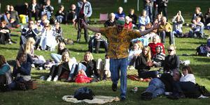 Sven Rubin i Svenne Rubins traskade runt i publiken. Foto: Daniel Eriksson