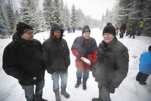 Ingemar Thelander, Jan Landström, Mikael Nordström och Göran Olsson hade åkt från Gävle och Sundsvall för att titta på ett riktigt vinterrally.