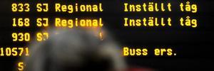 Från torsdag till måndag kommer tågresenärer att mötas av skyltar som denna.