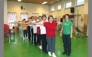 Balansen har förbättrats hos de flesta av deltagarna.Ulla Norman, 65 år, står längst fram i ledet. Till höger Torhild Mildenberger.FOTO: ANNA ENBOM