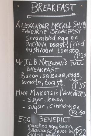 "Litterär meny. På ""The No 1 Ladies Opera House"" kan man få McCall Smiths favoritfrukost."