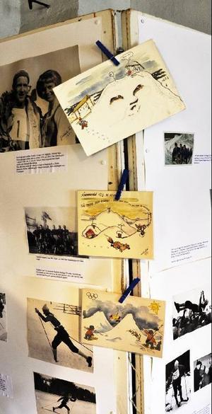 Tecknaren och vännen Anders Wall skickade alltid roliga och underfundiga kort till Melcher efter tävlingarna.