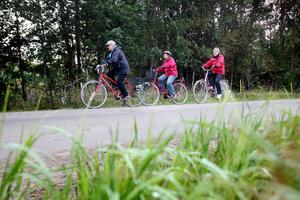 Gunnel Östman, Ellen Sjödin och Inga-Greta Mattsson är några av de som cyklar en mil varje morgon.