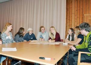 Louise Wallberg, Helerin Kristoffersson, Rasmus Rosenberg, Oskar Ohlsson, Johanna Grip, Lovisa Nilsson, Klara Carlund och Oscar Åslund bildade en diskussionsgrupp under dialogdagen.