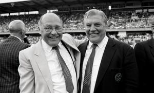 Gunnar Gren och Gunnar Nordahl spelade tillsammans i OS 1948. Bilden är från 1988.