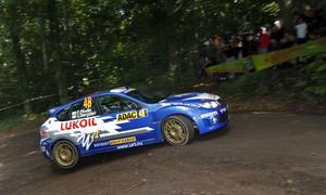 Patrik Flodin körde in som trea i det tyska VM-rallyt.