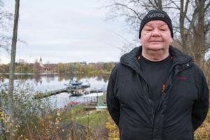 Från den här platsen tog Kjell Gustafsson årets Bästa Folkarebild – en mörkerbild över bland annat Gamla byn, Avesta kyrka och Sundh center.
