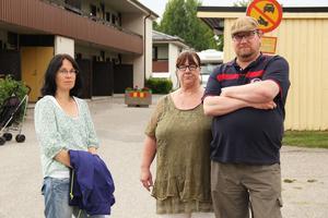 Mia Persson, Kristina Lindholm och Hans Eriksson är besvikna på hyresvärden Provinsfastigheter.