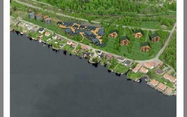Hus med lägenheter närmast stan och närmast Roxnäs udde. I mitten småhus.BILD: SCANPARK och 24H ARCHITECTURE