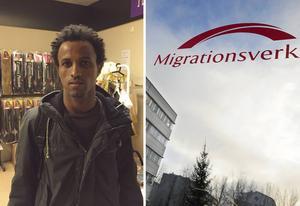 Efrem från Eritrea var tidigare folkbokförd i Time-butiken på Drottninggatan. Men nu har han fått tag på en lägenhet i Norrsundet.
