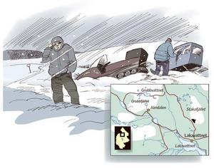 Barnfamiljen körde fast, i 20 graders kyla, efter skoterleden vid Grubbvattnet en mil norr om Almdalen och var tvungen att larma fjällräddningen för att få hjälp.