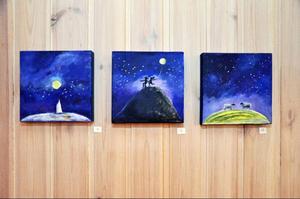 """Marika Wahl-Lindbergs del i utställningen heter """"Kosmos"""". Den här triologin heter """"På yttersta gränsen"""", """"Stjärnelek"""" och """"Himmelska ängder""""."""