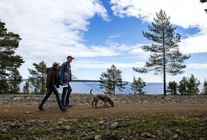 Första årgången av Världsarvledens dag i Nordingrå. De glada motionärerna Axel och Ingela Westin tillsammans med hunden Ossy var på plats.