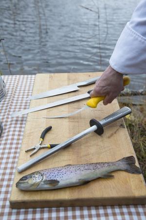 Med tre sorters knivar, ett brynstål och en plattång klarar du både att rensa och filea fisken.