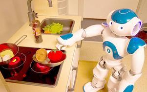 Roboten David övar på att laga tomatsoppa.