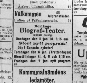 Annonser som visar ett axplock av underhållningen som bjöds vid Möller Salong i Borlänge under 1910.