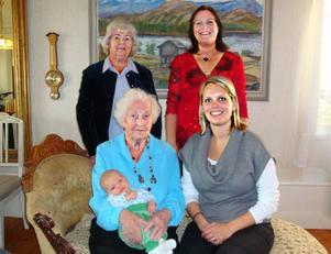 Viran Larsson, 101 år, med lille Matteo Fulgeri, fem veckor, mamma Caroline Hedlund Fulgeri, mormors mor Anna-Lisa Hammarlund och mormor Susanne Hedlund.