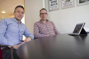 Petri Berg, vd, och Urban Wigren, ordförande, på Faxeholmen planerar att bygga nya bostäder i Söderhamn.