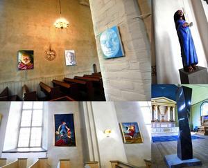 Överst fr v Stora Tuna kyrka med bilder av Malin Lager, Hedemora kyrka Svart madonna av Åsa Holmlund, Åhls kyrka vävda bilder av Eva Ek-Schaeffer och Sundborns kyrka stenskulptur av Pål Svensson.