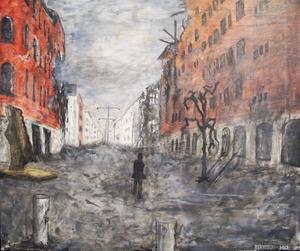 """""""Centralplan/Drottningg."""" En öde stad, människorna har flytt, i Gävlekonstnären Peter Endahls dystopiska målningar av lätt igenkännliga platser."""